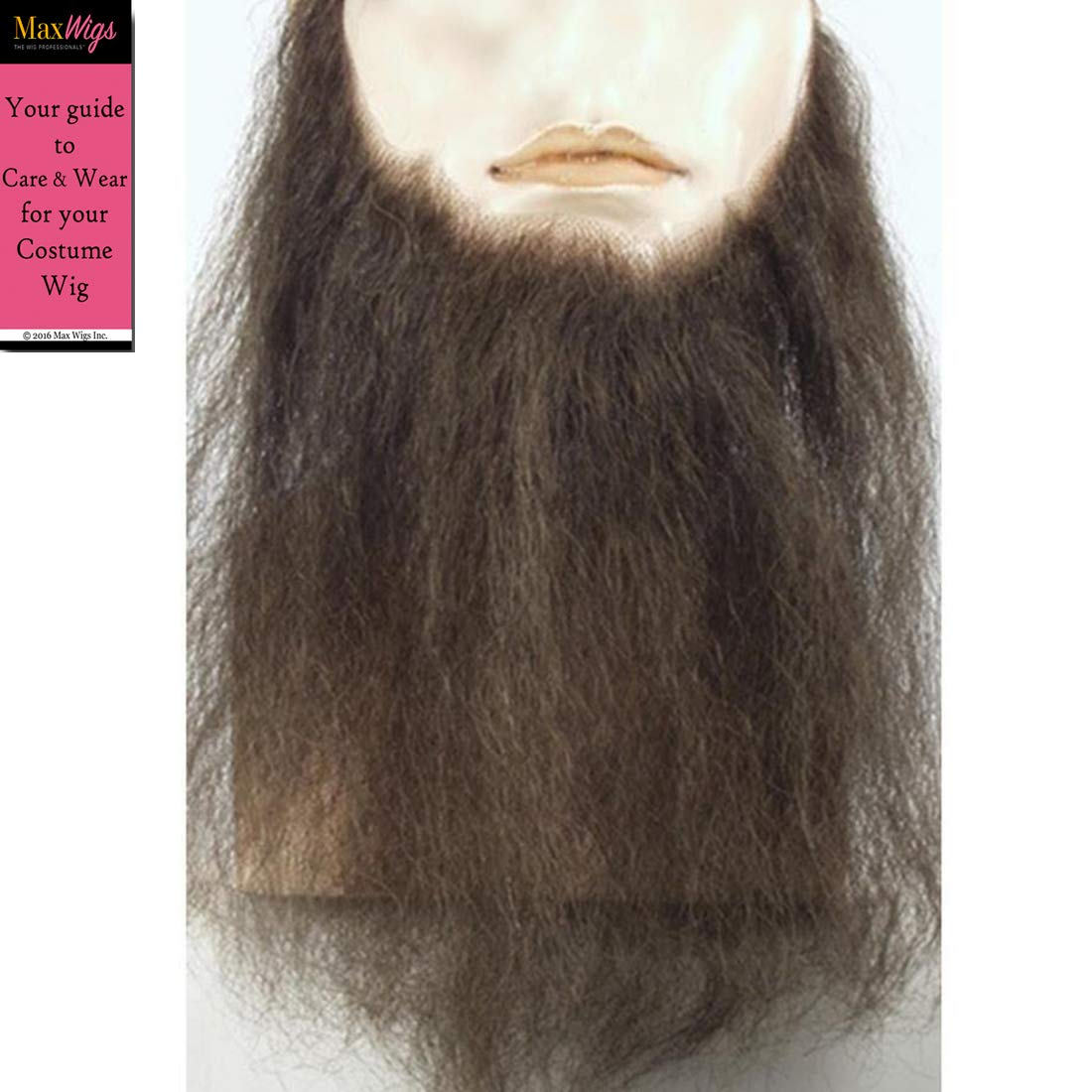 10 Long Full Face Beard Color Auburn Lacey Wigs Human Hair Mens Duck Dynasty Hand-Made Fake Facial Biker Amish Bundle with MaxWigs Hairloss Booklet