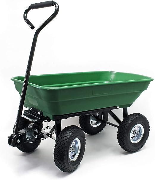 WilTec Carrito jardín basculante, Capacidad 55l, Carga 200kg, Carretilla de Transporte Carro de Mano: Amazon.es: Jardín