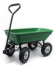 WilTec Carrito jardín basculante, Capacidad 55l, Carga 200kg, Carretilla de Transporte Carro de
