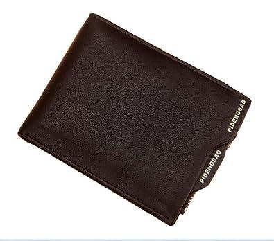 fd2941b11d0c Amazon | 【財布】二つ折りメンズ財布 カードケースにもOK 小銭入れあり 多機能&大容量のメンズ財布 最大8枚カード収納可能  選べるブラック・カーキ⇒縦型・横型 ...