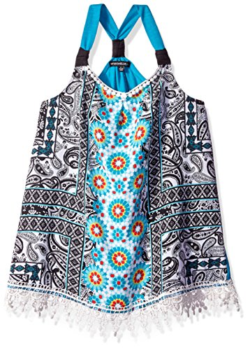 My Michelle Girls' Big Printed Tank Top with Woven Front and Knit Back and Crochet Hem, Multi, Medium