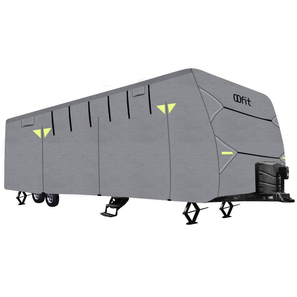 OOFIT Travel Trailer RV Cover Fits for 27' - 30'for RVs, Breathable Waterproof Anti-UV Ripstop Weather Resistant 4 - Ply Non-Woven Fabric Roof,Grey