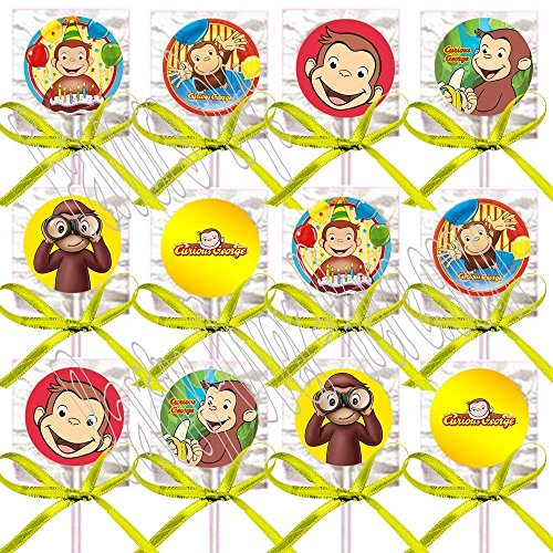 Curious George Party Favors Decorations Monkey Lollipops w/ Yellow Ribbon Bows Party Favors - Curious Birthday Favors George