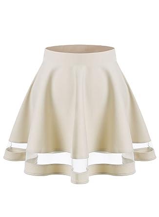 99d391587fb04 Wedtrend Jupe mini courte évasée Rétro Jupe Basique Plissée Patineuse Fille  Femme Elastique, Taille