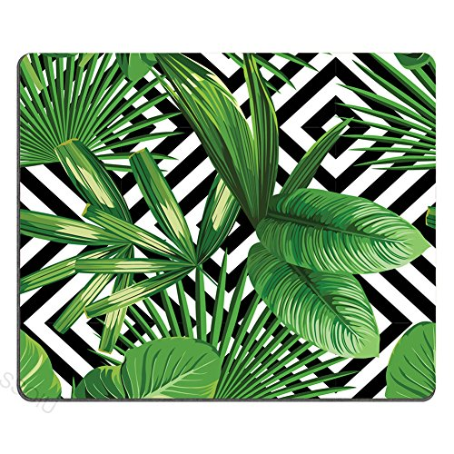 (Very Original Trendy Illustration on Mouse pad with Summer Exotic Jungle Plant Tropical Palm Leaves on The Black White Geometric Background)