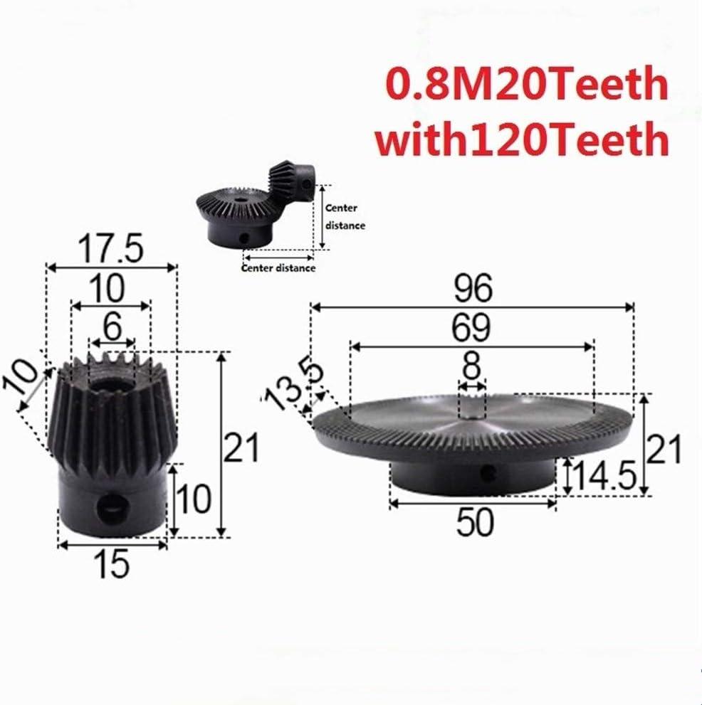 FLY MEN 2pcs 1:6 Bevel Gear 0.8 Modulus 20 Teeth Hole 6mm 120 Teeth Inner Hole 8mm 90 Degree Drive Commutation Steel Gears