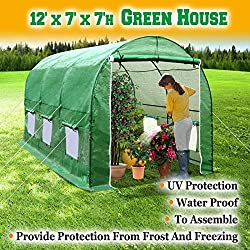 BenefitUSA Large Green House Walk In Garden Greenhouse Outdoor Canopy Gazebo Plant House (12'X7'X7', Green)