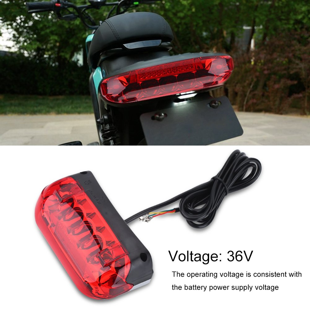 Electric Bicycle Rear Light 48V LED Brake Lamp Safety Warn Light for Scooters E-bikes by VGEBY (Image #6)