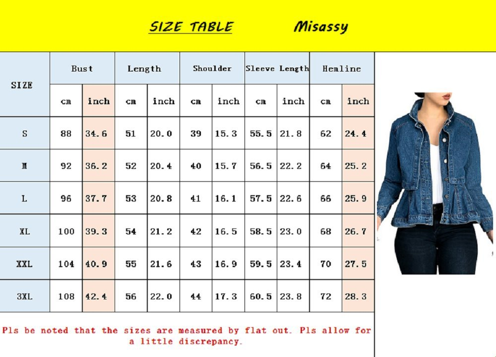 Misassy Womens Vintage Slim Fit Cape Up Peplum Button Down Denim Jean Jacket With Asymmetry Ruffle Hem Plus Size by Misassy (Image #4)