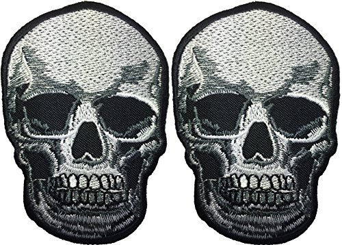 [Set 2 of Realistic Skull Dead Skeleton Skull Biker Punk Ride Motorcycle Jacket DIY Applique Embroidered Sew Iron on Emblem Badge Costume Patch By Ranger] (Top Gun Costume Patches)