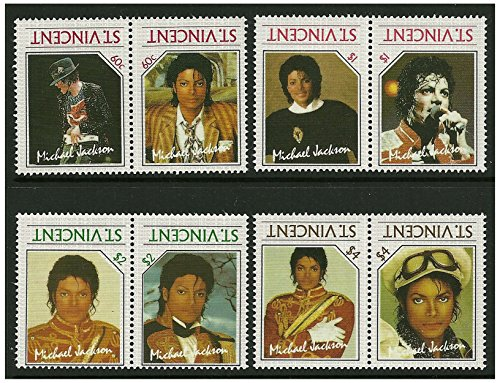Rare Michael Jackson misprint error stamp pairs. 8 stamps in 4 pairs issued in 1985 St Vincent / Mint and Unmounted / Inverted ()