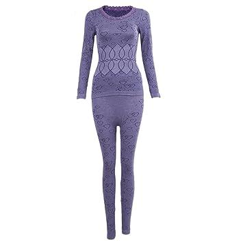 SODIAL(R)Mujer Cuello redondo Conjunto termico Invierno Chaqueta&pantalones larga ropa interior Conjunto de