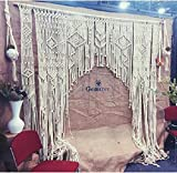 www.knittworld.com Bohemian Macrame Wall Decor Boho Chic Style Macrame Wedding Backdrop Arch 85'' W x 85'' L