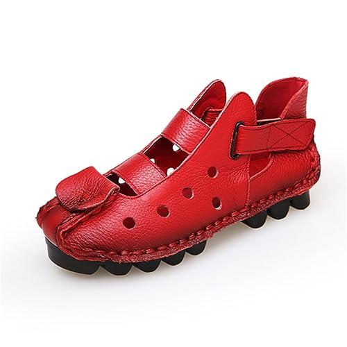 Socofy Slip Donna On Flat Sandalo, Donna Slip Pelle Fashion   901b02