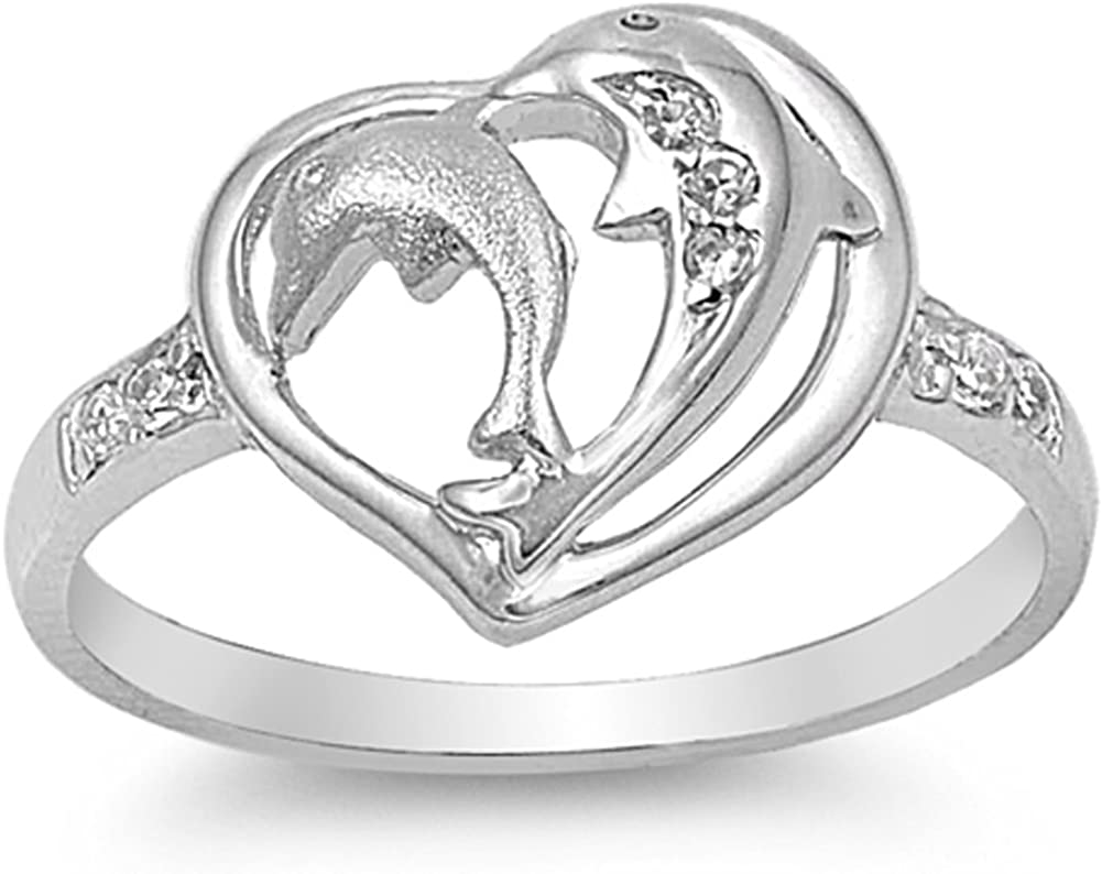 White CZ Beautiful Dolphin Heart Ring New .925 Sterling Silver Band Sizes 4-9
