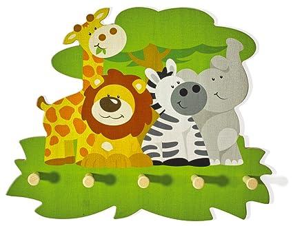 Attaccapanni Da Parete Per Bambini.Appendiabiti Da Parete In Legno Con Animali Cameretta Bimbi Fatto A Mano Qualita Svizzera 55 X 44 Cm