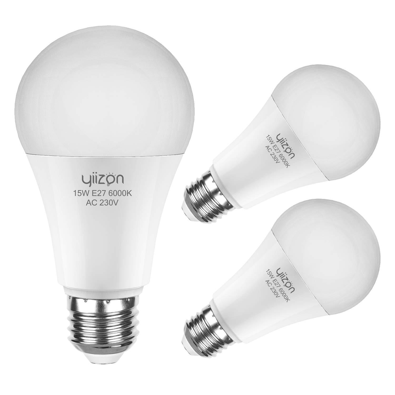 Yiizon E27 LED maíz bombilla, 15W, A70 6000K blanco frío LED bombillas, 120W incandescente bombillas equivalentes, 1350lm, Edison tornillo cilíndrico ...