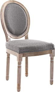 CIMOTA French Dining Chairs Set of 1, Upholstered Vintage Elegant Farmhouse Chair with Round Back Distressed Wood, Mid Century Fabric Side Chairs for Dining Room Bedroom Restaurant, Grey