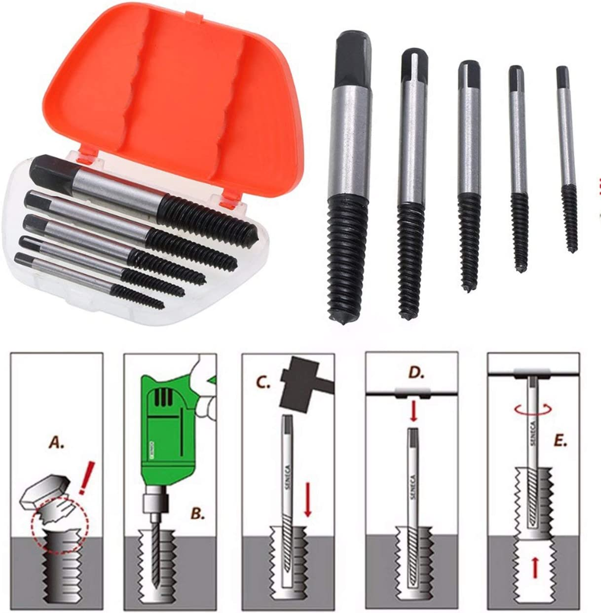 Elviray 5Pcs Speed Out Damaged Screw Extractor Drill Bits Guide Set Broken Bolt Remover Easy Out Set Bolt Stud Stripped Remover Tool