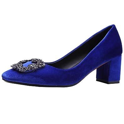 AIYOUMEI Damen Peep Toe Pumps mit Strass und 6cm Absatz Bequem Blockabatz High Heel Schuhe