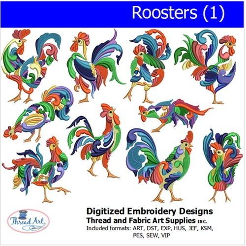 (Threadart Machine Embroidery Designs - Roosters (1) - USB Stick)