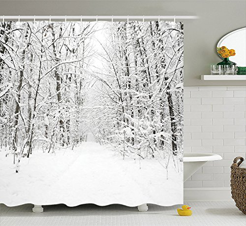 Unique Pictures of A beautiful deep forest snow scene Polyester Waterproof Shower Curtain-Bathroom Accessoriess For Bathroom 72x72 ()