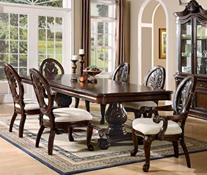 7pc Formal Dining Table U0026 Chairs Set With Claw Design Legs Cherry Finish