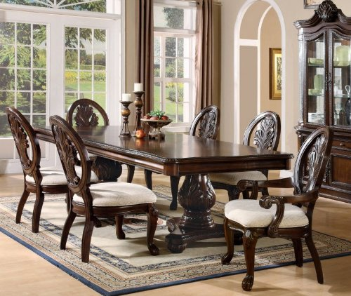 7pc Formal Dining Table & Chairs Set with Claw Design Legs Cherry Finish