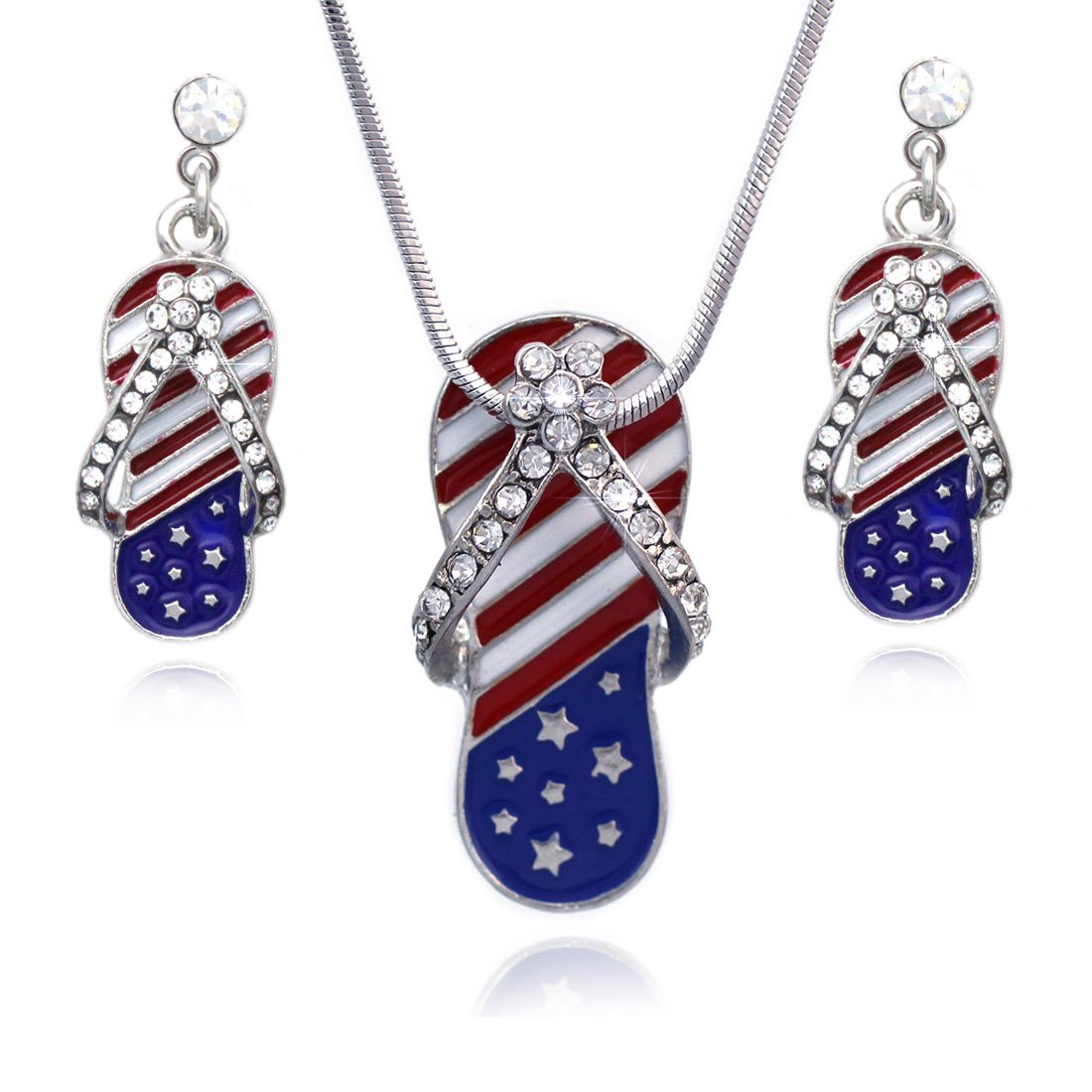 cocojewelry 4th of July American Flag Flip Flop Sandal Earrings Necklace Set (Style A)