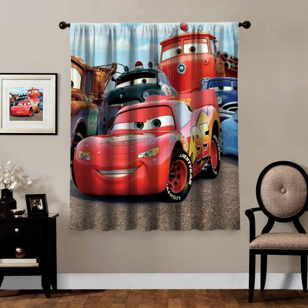 Blackout Curtains,Cars Lightning McQueen Sally Mater (3), Rod Pocket Thermal Insulated Darkening Window Drapes for Bedroom, Cute Animal Boys Girls Room Décor, 1 Panels,63x72 inch