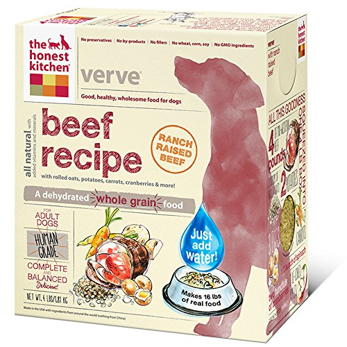 The Honest Kitchen Verve Organic Whole Grain Dog Food - Natural Human Grade Dehydrated Dog Food, Beef, 4 lbs (Makes 16 lbs)