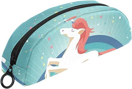 Estuche de unicornio con nube y arcoíris verde con cremallera, bolsa de maquillaje pequeña para niños, niñas, adolescentes, escuela: Amazon.es: Oficina y papelería