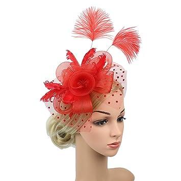 b10c8cf4abace Amazon.com   Women Fascinator Hat Wedding Cocktail Mesh Net Veil Party Hat  Flower Derby Hat (Red-2)   Beauty
