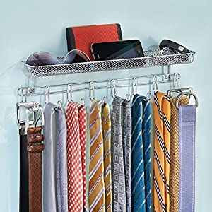 InterDesign Classico Wall Mount Closet Organizer - Storage Rack with Shelf for Ties, Belts or Wallets, Chrome