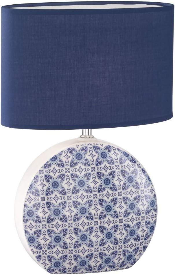 Lampada da tavolo a LED con paralume ovale in tessuto blu