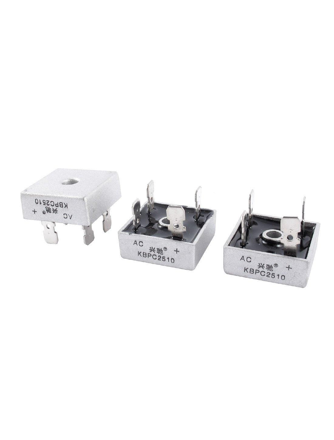 PCB KBPC2510 1KV 25A monof/ásico diodo puente rectificador 2 piezas gris