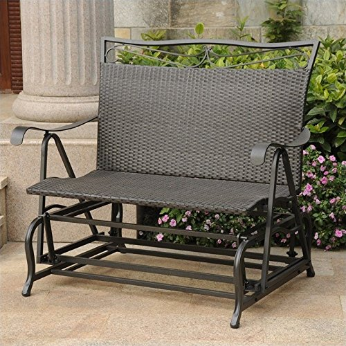 International Caravan Valencia 2 Seater Patio Glider in Antique Black - 2 Seater Glider