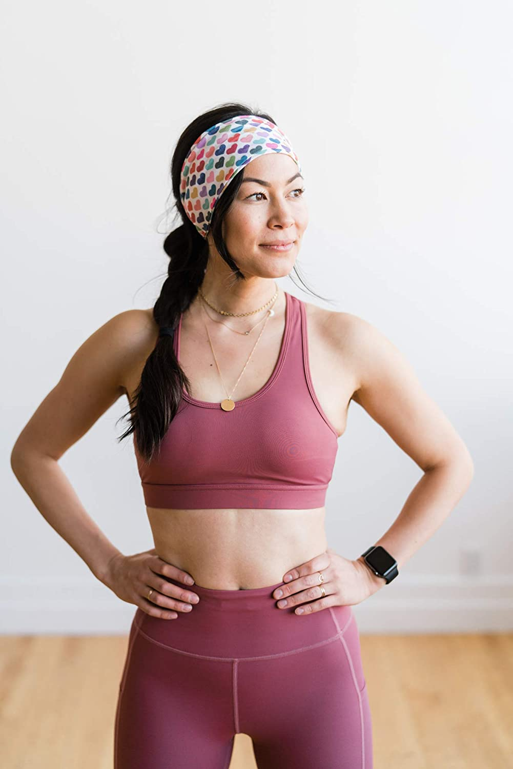 Maven Thread Womens Headband Yoga Running Exercise Sports Workout Athletic Gym Wide Sweat Wicking Stretchy No Slip 2 Pack Set Hearts and Purple Solid Crush