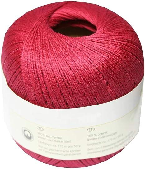 b2q – Ovillo para Tejer Ganchillo Hilo 100% algodón 50 g Burdeos (4031): Amazon.es: Hogar