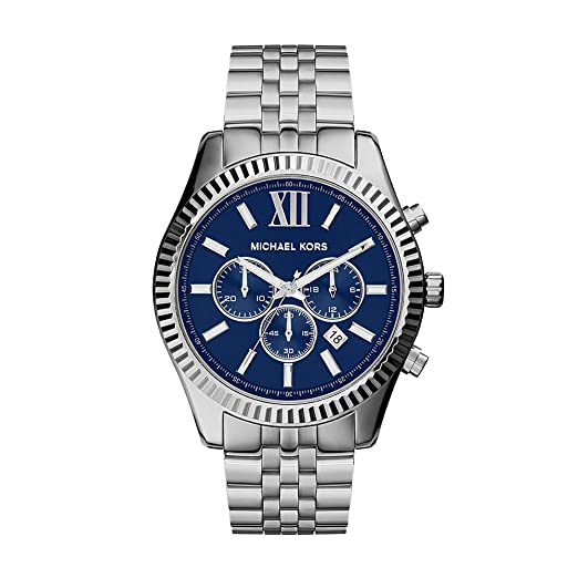 e414429d0 Image Unavailable. Image not available for. Colour: MICHAEL KORS Lexington  Men's Quartz Watch with Blue Dial and Silver Stainless Steel Bracelet MK8280