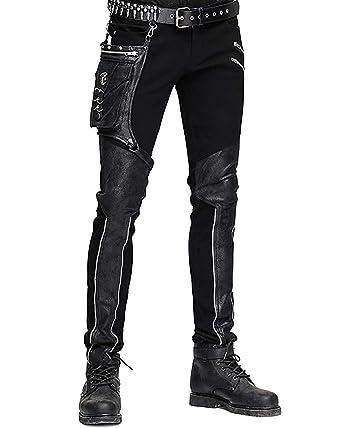 Devil FASHION HOMBRE dieselpunk Pantalones Vaqueros Negro Gótico Punk Piel Sintética Hip Bolso