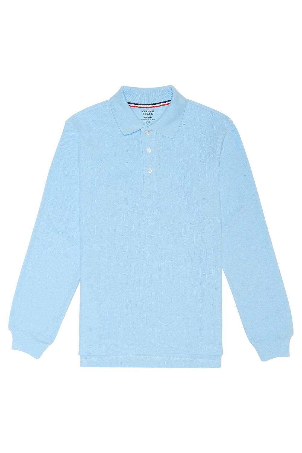 French Toast Boys' Long-Sleeve Pique Polo Shirt, Light Blue, Medium/10-12 Husky