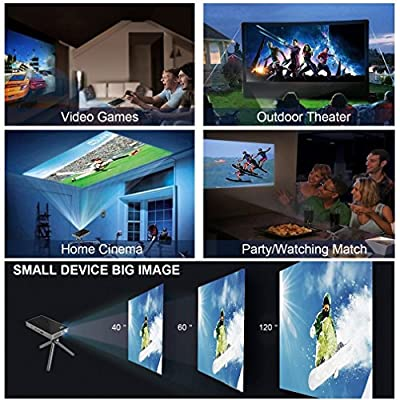 PTVdisplay P8I smart mini Projector, 1080P WIFI Home Theater pico rechargeable video projector Support Bluetooth HDMI USB TF card for Home Cinema , Wireless display for iPhone and android phone