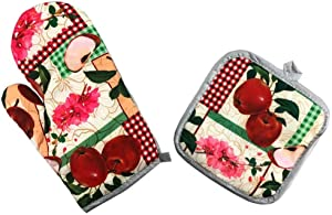 Funny Oven Mitts and Pot Holders Set Juicy Apple Kitchen Theme Heat Resistance Cotton Lining Kitchen Gloves Non-Slip for Cooking or Baking Grilling