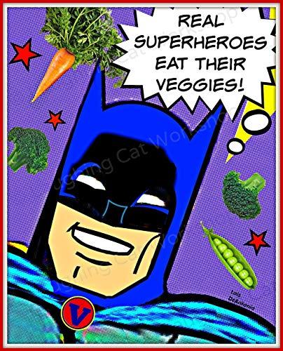Superheroes Eat veggies Vegetables art Kids Batman comics art Nutrition Health Education poster for Children Healthy Food Back to School Nurse Art Doctor Office decor Kitchen decor ()