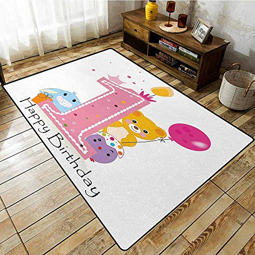 Custom Rug,1st Birthday Princess Girl and Party Cake with Candle Teddy Bear Toy Print,Rustic Home Decor,3'3