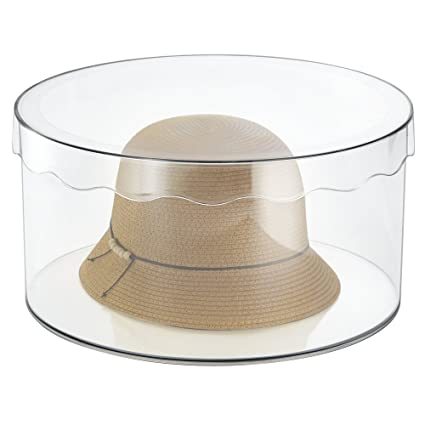 mDesign - Caja organizadora Redonda con Tapa - Orden en Todas Las Habitaciones - cajonera para Cinturones, Bufandas, Juguetes - Grande/Transparente