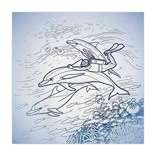 iPrint Satin Square Tablecloth,Sea Animals Decor,Sketch of Scuba Diver Holding Fin of Dolphin over Coral Reefs Fish Underwater,Multi,Dining Room Kitchen Table Cloth Cover ()