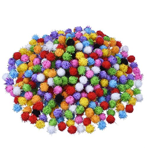 Blulu Glitter Poms Pompoms for Craft Making and Hobby Supplies 0.5 Inch, 500 Pieces, Assorted Colors