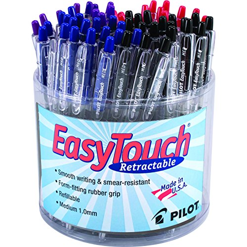 [Pilot EasyTouch Retractable Ballpoint Pens, Refillable, Tub of 60 Pieces, Assorted Colors Ink and Barrel, 5853] (Easy Touch Ballpoint Pen Refillable)